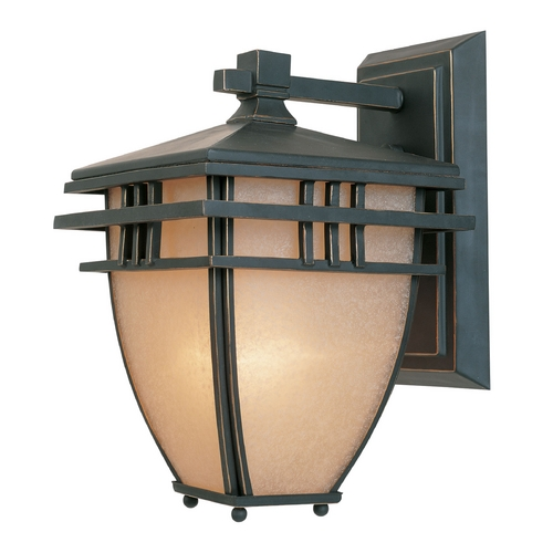 Designers Fountain Lighting Outdoor Wall Light with Beige / Cream Glass in Aged Bronze Patina Finish 30831-ABP
