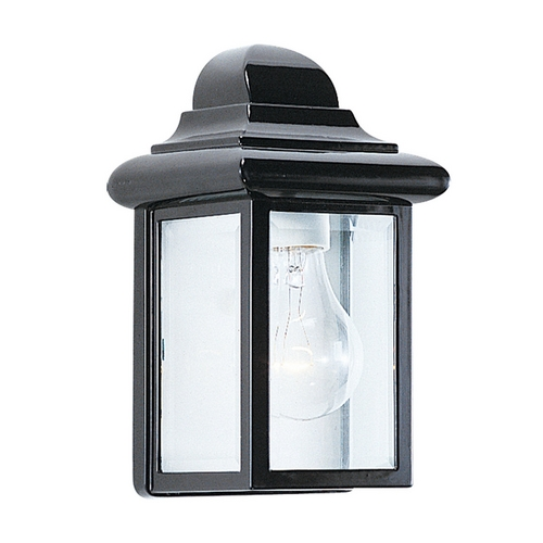 Sea Gull Lighting Outdoor Wall Light with Clear Glass in Black Finish 8588-12