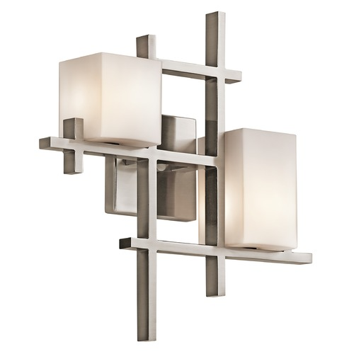 Kichler Lighting Kichler Modern Sconce Wall Light with White Glass in Pewter Finish 42942CLP