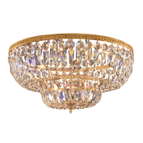 Crystorama Lighting Crystal Flushmount Light in Olde Brass Finish 724-OB-CL-SAQ