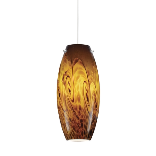 Juno Lighting Group Amber Storm Art Glass Low Voltage Mini-Pendant Light DPEND MF P88 AMS 78IN BP12 BZC BZA