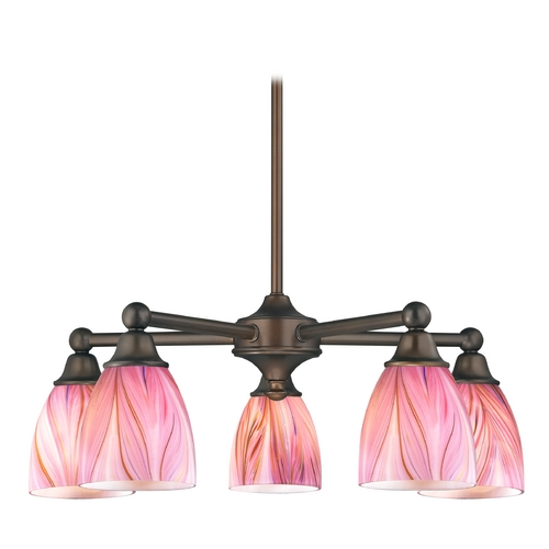 Design Classics Lighting Chandelier with Pink Art Glass in Neuvelle Bronze Finish 594-220 GL1004MB