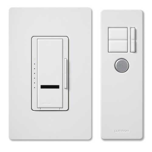 Lutron Dimmer Controls Incandescent Dimmer Switch with Remote Control MIR-600THW-WH