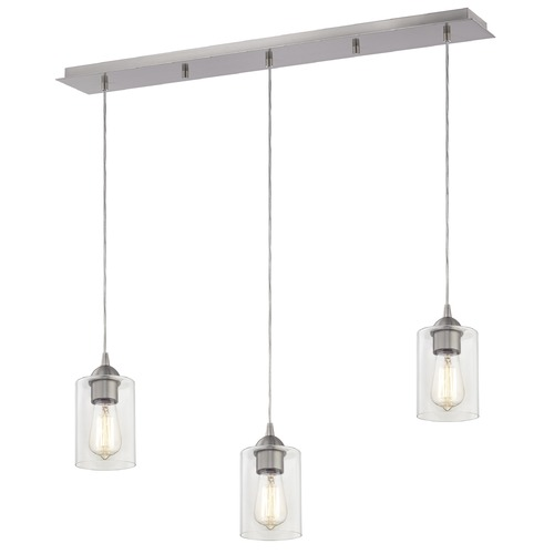 Design Classics Lighting 36-Inch Linear Pendant with 3-Lights in Satin Nickel Finish with Clear Glass 5833-09 GL1040C