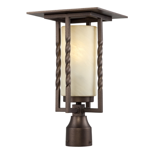 Designers Fountain Lighting Post Light with Beige / Cream Glass in Flemish Bronze Finish FL31936-FBZ