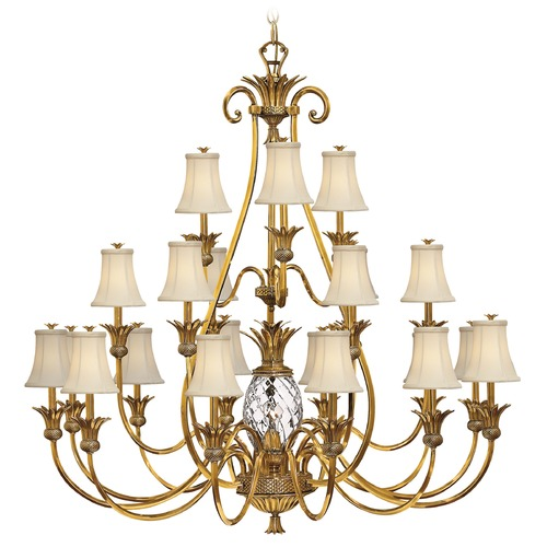 Hinkley Lighting Hinkley 21-Light Chandelier with Beige/Cream Shade in Burnished Brass 4889BB