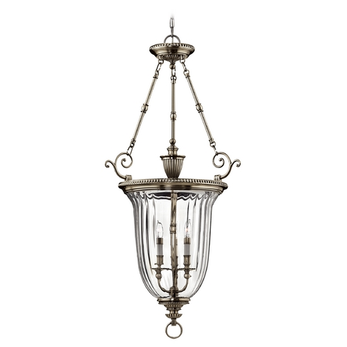Hinkley Lighting Pewter Chandelier with Bell Glass Shade 3614PW