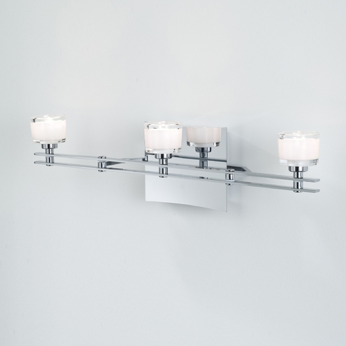 Holtkoetter Lighting Holtkoetter Modern Bathroom Light with White Glass in Chrome Finish 5583 CH G5011