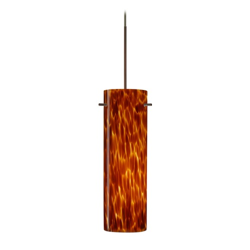 Besa Lighting Besa Lighting Copa Bronze LED Mini-Pendant Light with Cylindrical Shade 1XT-493018-LED-BR