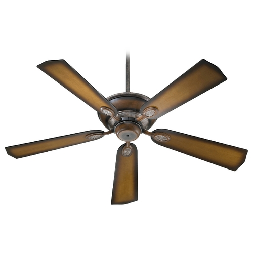 Quorum Lighting Quorum Lighting Kingsley Mystic Silver with Pecan Ceiling Fan Without Light 38525-58
