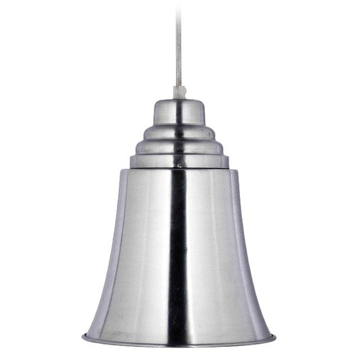 Kenroy Home Lighting Kenroy Home Lighting Spinnaker Brushed Steel Mini-Pendant Light with Bell Shade 92096BS