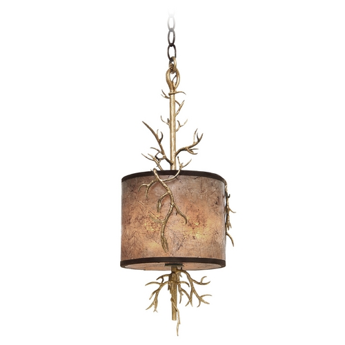 Kalco Lighting Kalco Lighting Oakham Bronze Gold Mini-Pendant Light with Drum Shade 6614BZG