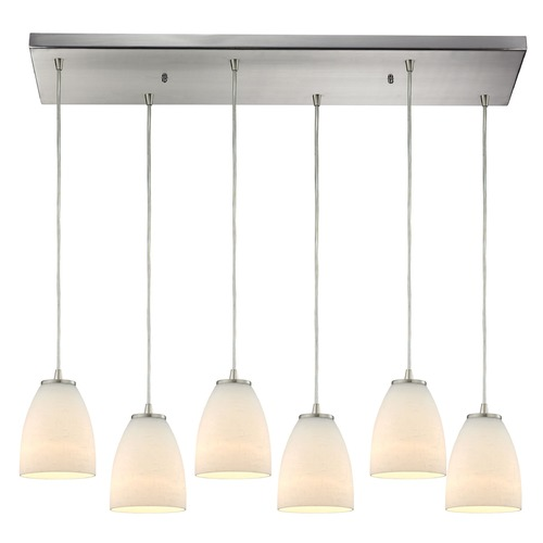 Elk Lighting Elk Lighting Sandstorm Satin Nickel Multi-Light Pendant with Bowl / Dome Shade 10466/6RC