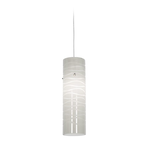 Access Lighting Access Lighting Zeta Brushed Steel Mini-Pendant Light with Cylindrical Shade 94932-BS/WHTLN