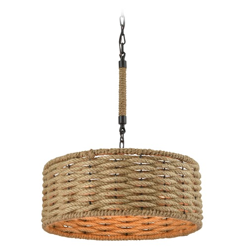 Elk Lighting Elk Lighting Weaverton Oil Rubbed Bronze Pendant Light with Drum Shade 10711/3