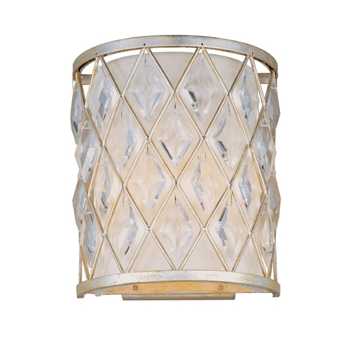 Maxim Lighting Sconce Wall Light with White Shade in Golden Silver Finish 21458OFGS