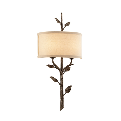 Troy Lighting Sconce Wall Light with Beige / Cream Shade in Bronze Leaf Finish B3182