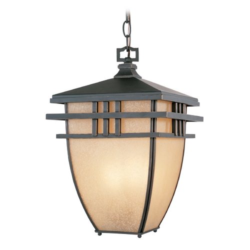 Designers Fountain Lighting Outdoor Hanging Light with Beige / Cream Glass in Aged Bronze Patina Finish 30834-ABP