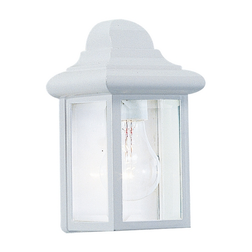 Sea Gull Lighting Outdoor Wall Light with Clear Glass in White Finish 8588-15