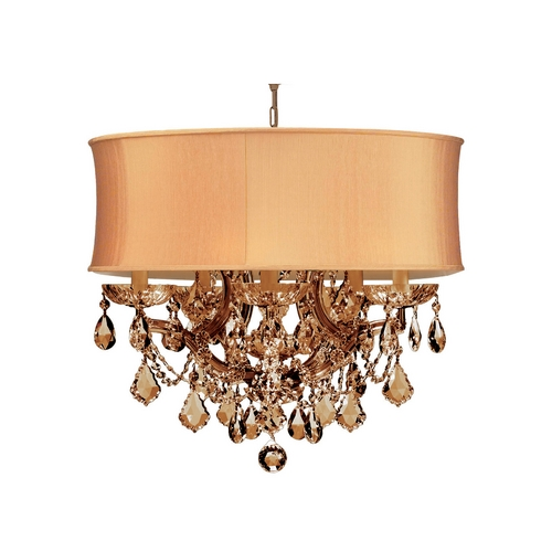 Crystorama Lighting Crystal Mini-Chandelier with Gold Shade in Antique Brass Finish 4415-AB-SHG-GTM
