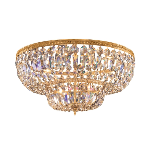 Crystorama Lighting Crystal Flushmount Light in Olde Brass Finish 730-OB-CL-MWP