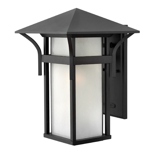 Hinkley Etched Seeded Glass LED Outdoor Wall Light Black Hinkley 2575SK-LED