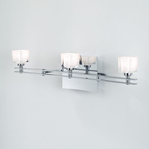 Holtkoetter Lighting Holtkoetter Modern Bathroom Light with White Glass in Chrome Finish 5583 CH G5012