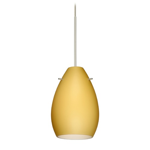 Besa Lighting Besa Lighting Pera Satin Nickel Mini-Pendant Light with Oblong Shade 1XT-1713VM-SN