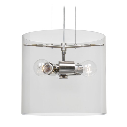 Besa Lighting Besa Lighting Pahu Satin Nickel Pendant Light with Drum Shade 1KG-C18407-SN-NI