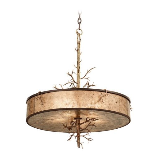Kalco Lighting Kalco Lighting Oakham Bronze Gold Pendant Light with Drum Shade 6615BZG