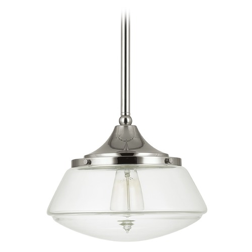 Capital Lighting Capital Lighting Polished Nickel Pendant Light with Drum Shade 3531PN-134