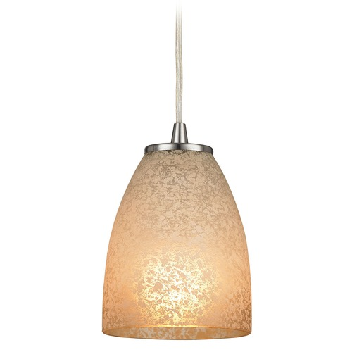 Elk Lighting Elk Lighting Sandstorm Satin Nickel Mini-Pendant Light with Bowl / Dome Shade 10476/1