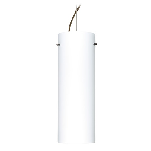 Besa Lighting Besa Lighting Tondo Bronze LED Pendant Light with Cylindrical Shade 1KX-412807-LED-BR