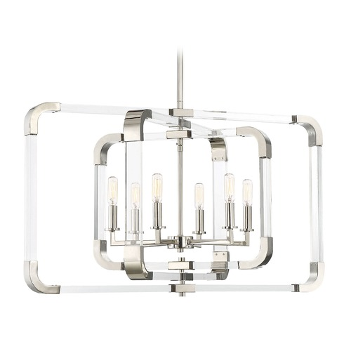 Savoy House Polished Nickel Pendant Light Rotterdam Collection by Savoy House 7-1660-6-109