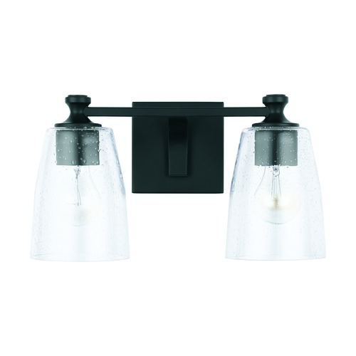 HomePlace by Capital Lighting HomePlace Myles Matte Black 2-Light Bathroom Light with Clear Seeded Glass 140921MB-506