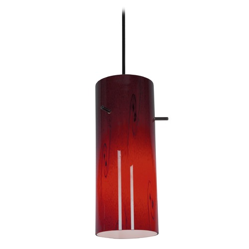 Access Lighting Modern Mini-Pendant Light with Red Glass 28030-2C-ORB/RUSKY
