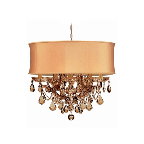 Crystorama Lighting Crystal Mini-Chandelier with Gold Shade in Antique Brass Finish 4415-AB-SHG-GTS