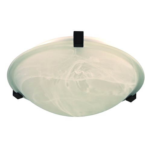 PLC Lighting Modern Flushmount Light with White Glass in Black Finish 7012 BK