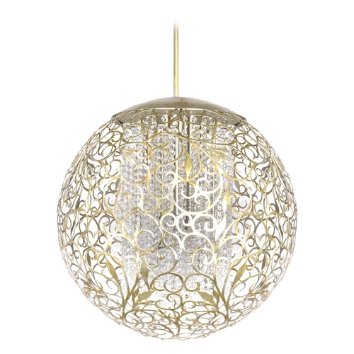Maxim Lighting Maxim Lighting Arabesque Golden Silver Pendant Light with Globe Shade 24159BCGS