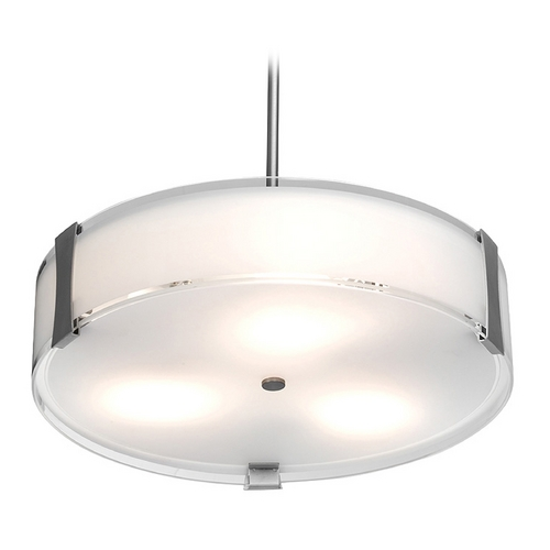 Access Lighting Access Lighting Tara Brushed Steel Pendant Light with Drum Shade C50123BSOPLEN1226B