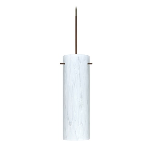 Besa Lighting Besa Lighting Copa Bronze LED Mini-Pendant Light with Cylindrical Shade 1XT-493019-LED-BR