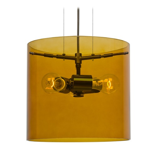 Besa Lighting Besa Lighting Pahu Bronze Pendant Light with Drum Shade 1KG-G18407-BR-NI