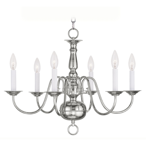 Livex Lighting Livex Lighting Williamsburg Polished Nickel Chandelier 5006-35