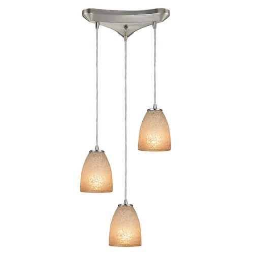 Elk Lighting Elk Lighting Sandstorm Satin Nickel Multi-Light Pendant with Bowl / Dome Shade 10476/3