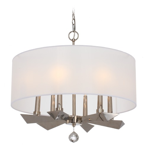 Crystorama Lighting Crystorama Lighting Palmer Polished Nickel Pendant Light with Drum Shade 7596-PN