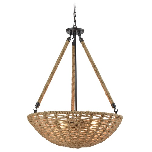Elk Lighting Elk Lighting Weaverton Oil Rubbed Bronze Pendant Light with Bowl / Dome Shade 10712/4