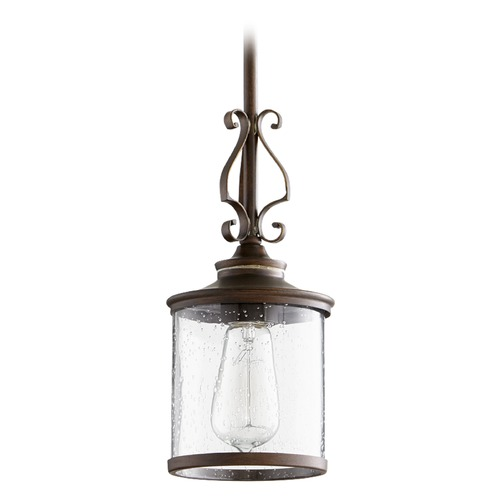Quorum Lighting Seeded Glass Mini-Pendant Light Copper Quorum Lighting 3073-39