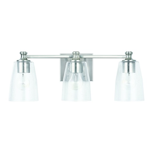 HomePlace by Capital Lighting HomePlace Myles Brushed Nickel 3-Light Bathroom Light with Clear Seeded Glass 140931BN-506