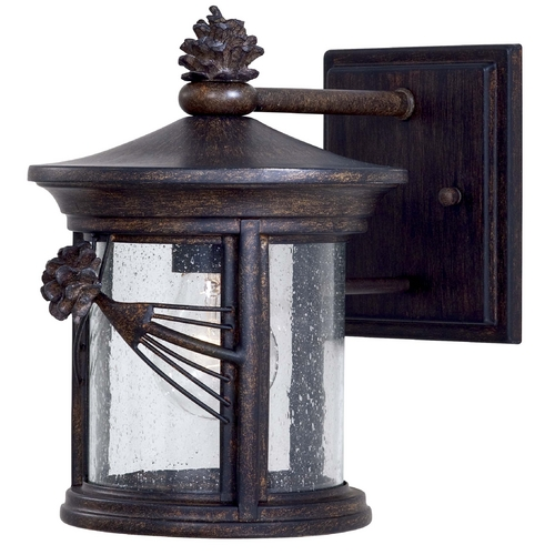 Minka Lavery Outdoor Wall Light with Clear Glass in Iron Oxide Finish 9151-A357