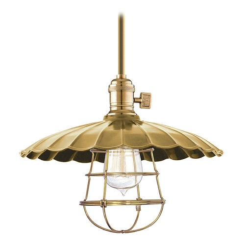 Hudson Valley Lighting Pendant Light in Aged Brass Finish 9001-AGB-MM3-WG